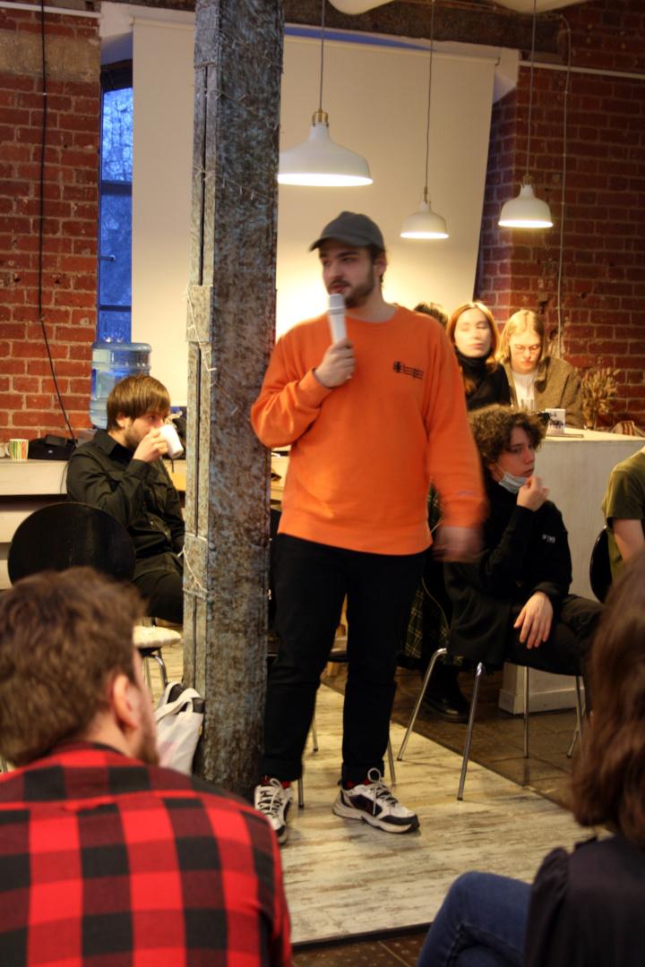 Один из организаторов мероприятия с сети молодёжных гражданских проектов «Пространство Политика»